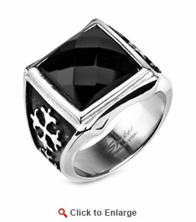 Stainless Steel Onyx Double Cross Ring