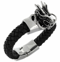 Stainless Steel Shenron Dragon Leather Bracelet