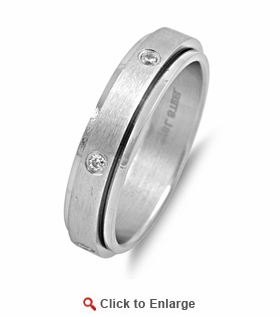 Stainless Steel Spinner CZ Band Ring