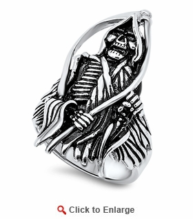 Stainless Steel The Reaper Skull Ring