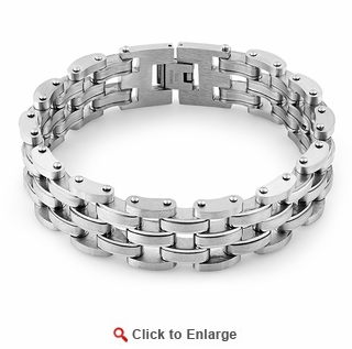 Stainless Steel Thick Half Oval Bean Bracelet