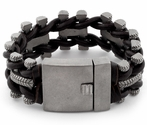 Stainless Steel Tire Tracks Brown Leather Bracelet