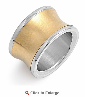 Stainless Steel Two Tone Band Ring