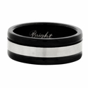 Stainless Steel Two Tone Black Wedding Band Ring