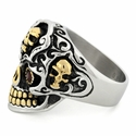 Stainless Steel Two Tone Skull w/ CZ Eyes  Ring