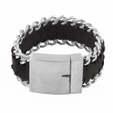 Stainless Steel Woven Dark Brown Leather Bracelet