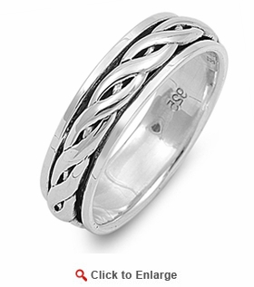 Sterling Silver 6MM Knot Spinner Ring