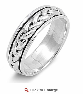 Sterling Silver 7MM Knot Spinner Ring