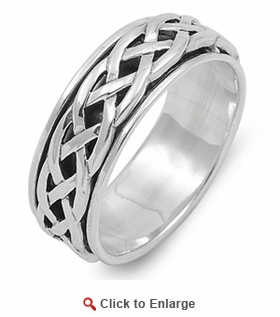 Sterling Silver 8MM Knot Spinner Ring