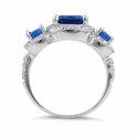 Sterling Silver Blue Saphire Three Stone Halo CZ Ring