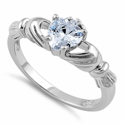 Sterling Silver Claddagh Clear Heart CZ Ring