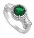 Sterling Silver Classic Emerald Engagement Ring