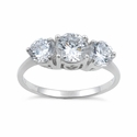 Sterling Silver Clear Three Stone Engagement CZ Ring