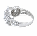 Sterling Silver Clear Three Stone Halo Engagement CZ Ring