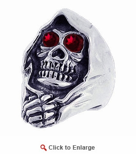 Sterling Silver Death Skull Ring with CZ Eyes
