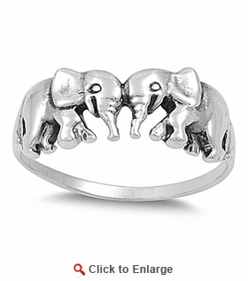 Sterling Silver Elephants Ring