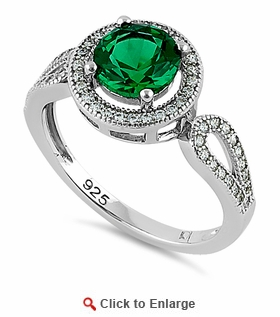 Sterling Silver Emerald CZ Halo Engagement Infinity Band Ring
