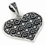 Sterling Silver Large Medieval Heart Pendant