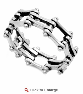 Sterling Silver Motorcycle Chain Ring