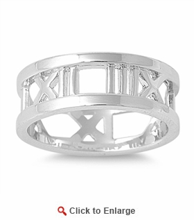Sterling Silver Numeral Number Ring