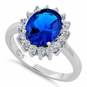 Sterling Silver Opal Blue Sapphire CZ Ring