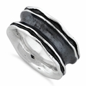 Sterling Silver Oxidized Wavey Thick Ring