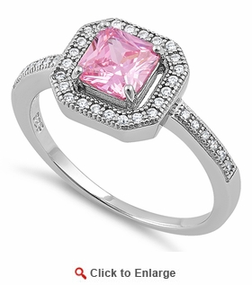 Sterling Silver Pink CZ Cushion Halo Engagement Ring