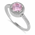 Sterling Silver Pink Round CZ Halo Engagement Ring