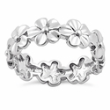 Sterling Silver Plumeria Eternity Ring
