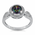 Sterling Silver Rainbow Topaz CZ Halo Engagement Infinity Band Ring
