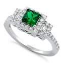 Sterling Silver Square Emerald CZ Cushion Engagement Ring