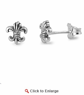 Sterling Silver Unique Fleur de Lis Stud Earrings