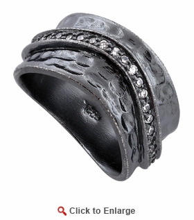 Sterling Silver Wave Oxidized CZ Ring