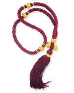 100 Knot Red/Gold Prayer Rope from Greece, 15 1/2""