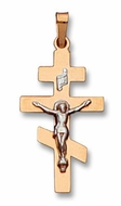 14 KT Yellow Gold Cross with White Gold Crucifix