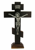 3 Bar Cross on Stand w/Metal Corpus Crucifix