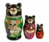 "3 Nesting  Doll ""Cat"", Hand Carved Hand Painted"