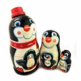 "3 Nesting Stocking  Doll ""Penguin "", Hand Carved Hand Painted"