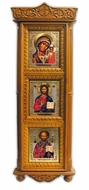 3 Orthodox Christian Icons in Large Wooden Shrine with Glass