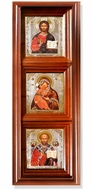 3 Orthodox Christian Icons in Wood Shrine with Glass