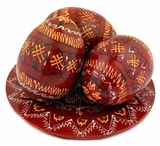 3 Wooden   Pysanky Eggs on Its Plate, Hand Painted, Dark Red