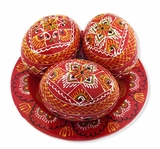 3 Wooden Ukrainian Pysanky Eggs on Its Plate, Hand Painted, Red
