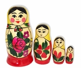 4 Nesting Wooden Russian Dolls, Hand Painted,  Semenova Design