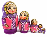 "5 Nesting Matreshka Dolls, ""Russian Costume"", Purple"