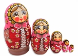 "5 Nested Matreshka Dolls, ""Russian Costume"", Red"