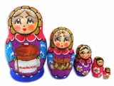 "5 Nested Matreshka Wooden Dolls ""Bread and  Salt"", 4"""