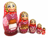 "5 Nested Matreshka Wooden Dolls ""Bread and  Salt"", 5 1/2"""