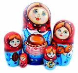 "5 Nesting Matreshka Wooden Dolls ""Bread and  Salt"", 6"""