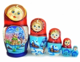 "5 Nested Matreshka Wooden Dolls ""Church and Winter Scenes"""