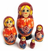"5 Nested Matreshka Wooden Dolls ""Ponytails"", Floral Design"